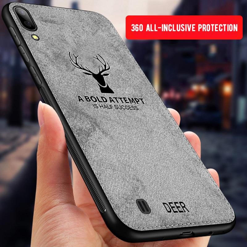 Caixa Do Telefone Para Samsung Galaxy A50 Frabic pano A30 A70 S10E S10 S8 S9 Plus M20 M30 A9 A7 2018 nota 9 8 Macio Silcone Tampa Coque