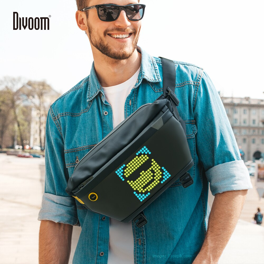 Divoom Sling Bag Customizable Pixel Art Fashion Design Outdoor Sport Waterproof for Biking Hiking Ou