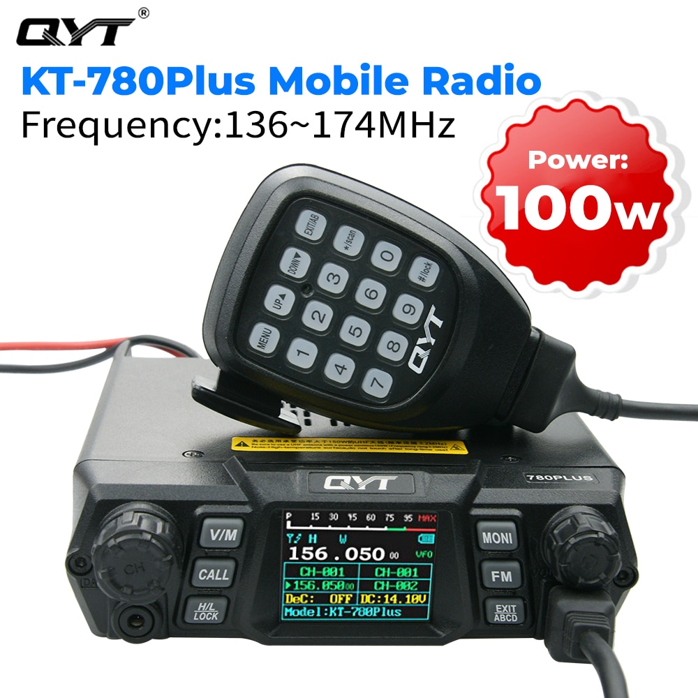 QYT KT-780 زائد 100 واط قوية VHF 136-174 ميجا هرتز هام المحمول جهاز الإرسال والاستقبال اللاسلكي 256 قنوات طويلة المدى الاتصالات راديو السيارة