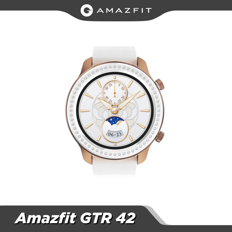 النسخة العالمية Amazfit GTR 42 مللي متر ساعة ذكية 5ATM مقاوم للماء Smartwatch 24 أيام بطارية لتحديد المواقع تحكم بالموسيقى حزام جلد السيليكون