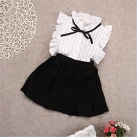 2pcs girls set dress kids baby girl striped sleeveless tops solid skirt outfits clothes set