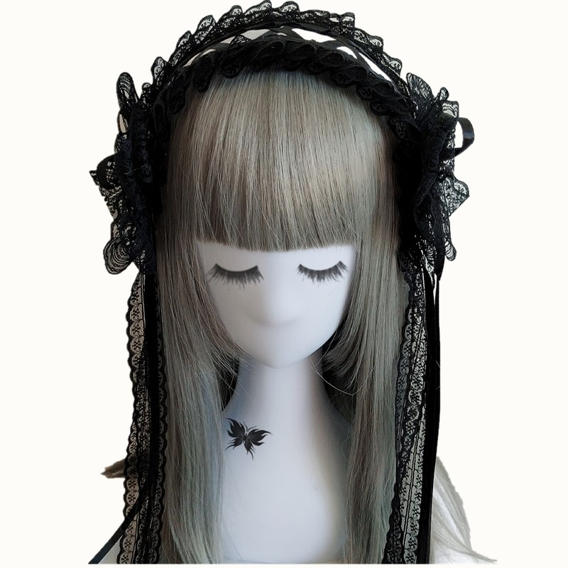 Japonês gothic lolita cocar kc cosplay preto escuro estilo maid anime laço arco fita hairband punk retro headwear bandana