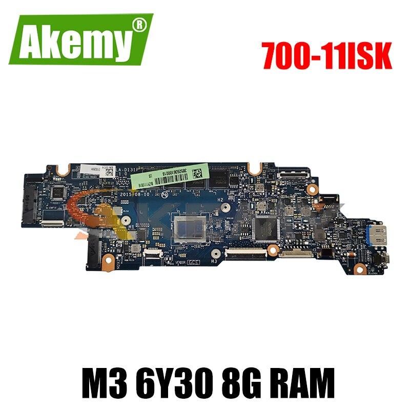 Akemy BIZY1 LA-D131P لينوفو اليوغا 700-11ISK اليوغا 700-11 اللوحة الأم للكمبيوتر المحمول وحدة المعالجة المركزية M3 6Y30 8G RAM 100% اختبار العمل