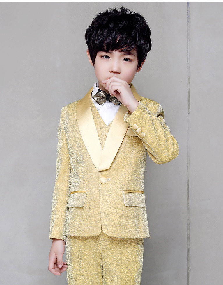 childrens gold tuxedo boys red suit flower for wedding kids prom suits baby boy big size custom