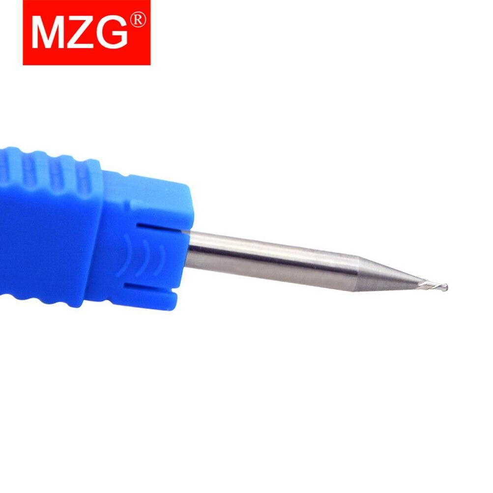 Купить с кэшбэком MZG 2 Flute Cutting HRC55 2mm 3mm 4mm Aluminium Copper Machining CNC Tungsten Steel Sprial Bit Milling Cutter Ball Nose End Mill
