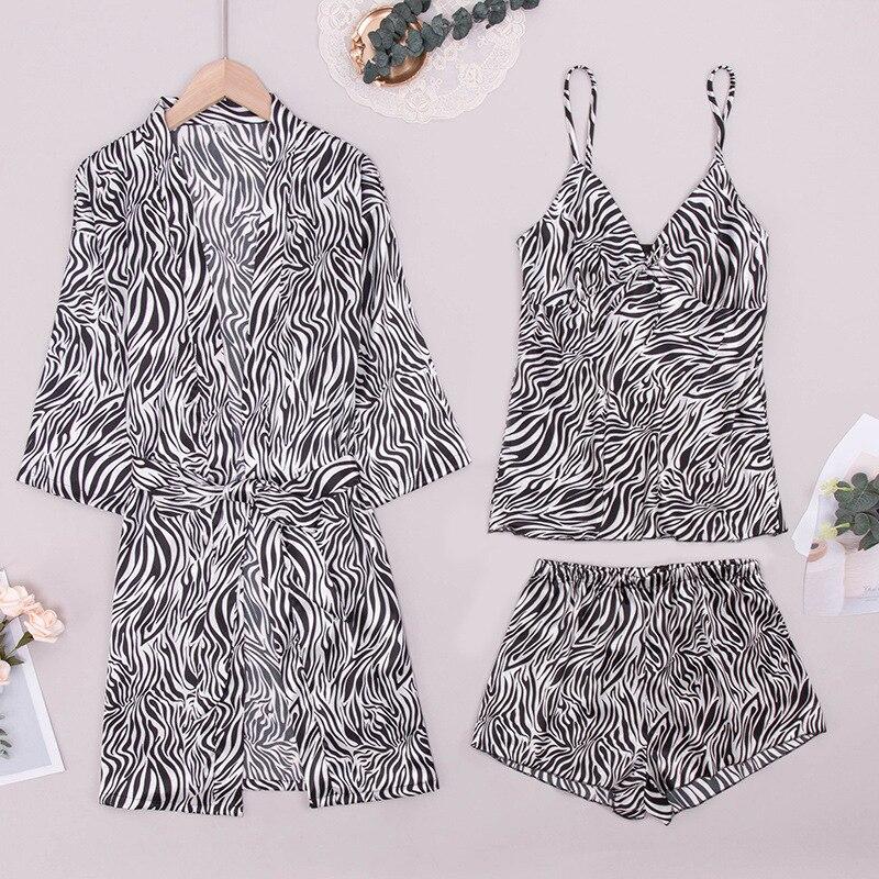 ملابس نوم نسائية بيجامة من الحرير للنساء بحمالات للربيع والصيف ، شورتات ، أردية ، ثلاث مجموعات من روب نوم مثير