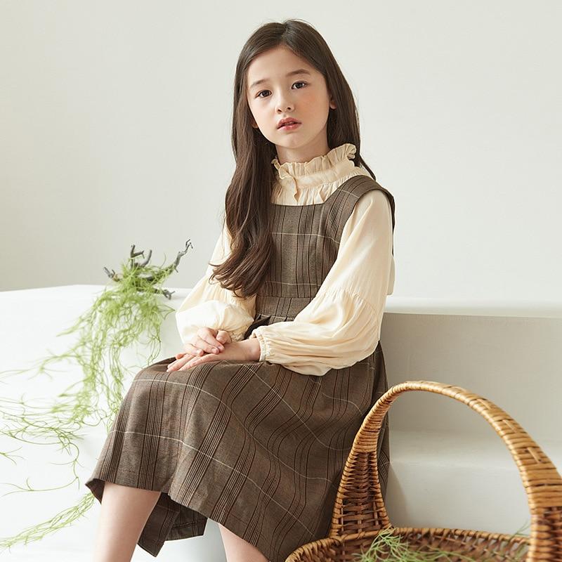 4-14 Yrs Spring Girls Clothing Sets Teen Kids Outfits Vintage Lantern sleeve Blouse+Plaid Vest Dress 2Pcs Suit Big Child Clothes