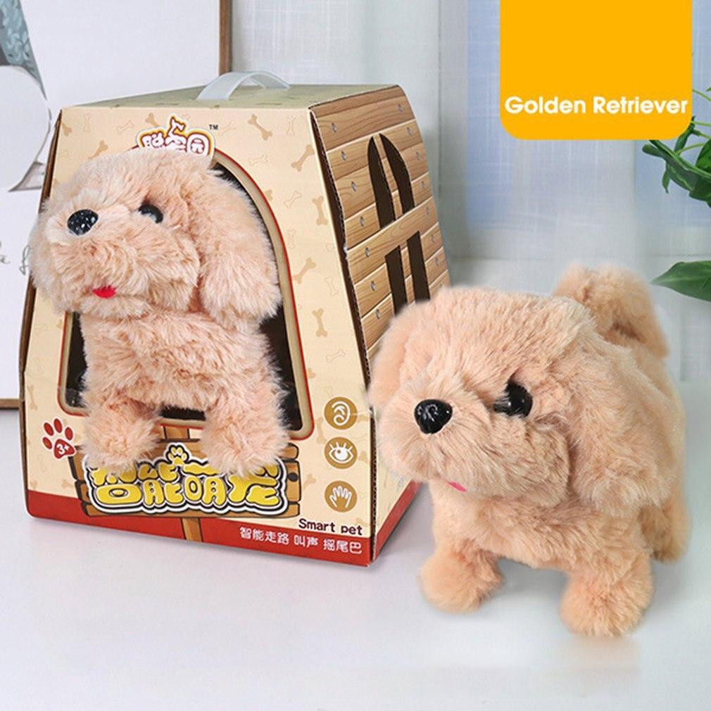 Электрическая плюшевая Милая прогулочная собака лай электронная интерактивная игрушка для домашних животных для детей мальчиков девочек ...