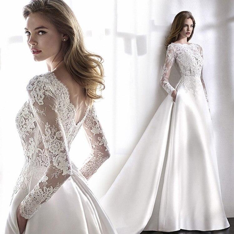 فستان زفاف نسائي أنيق ، فستان زفاف فاخر بأكمام طويلة مع ذيل على شكل حرف a ، 2020
