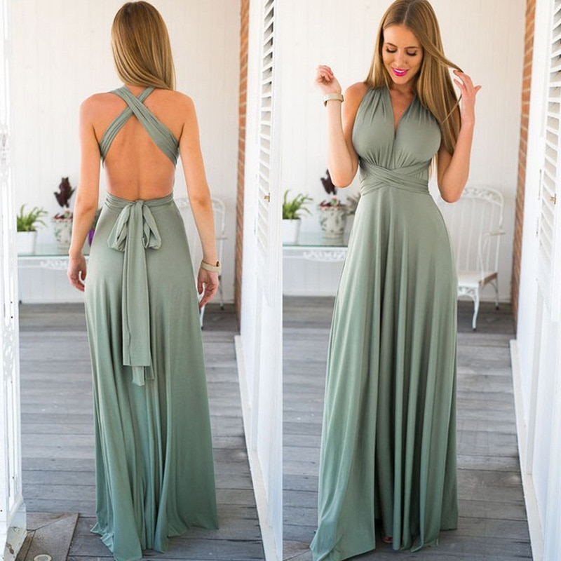 Summer Sexy Long Dress Bridesmaid Wrap Convertible Boho Red Maxi Dress Bandage Prom Club Party Infin