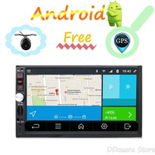 2 Din autoradio stéréo Android Quad Core 2GB RAM avec GPS Navigation caméra carte volant contrôle Wifi