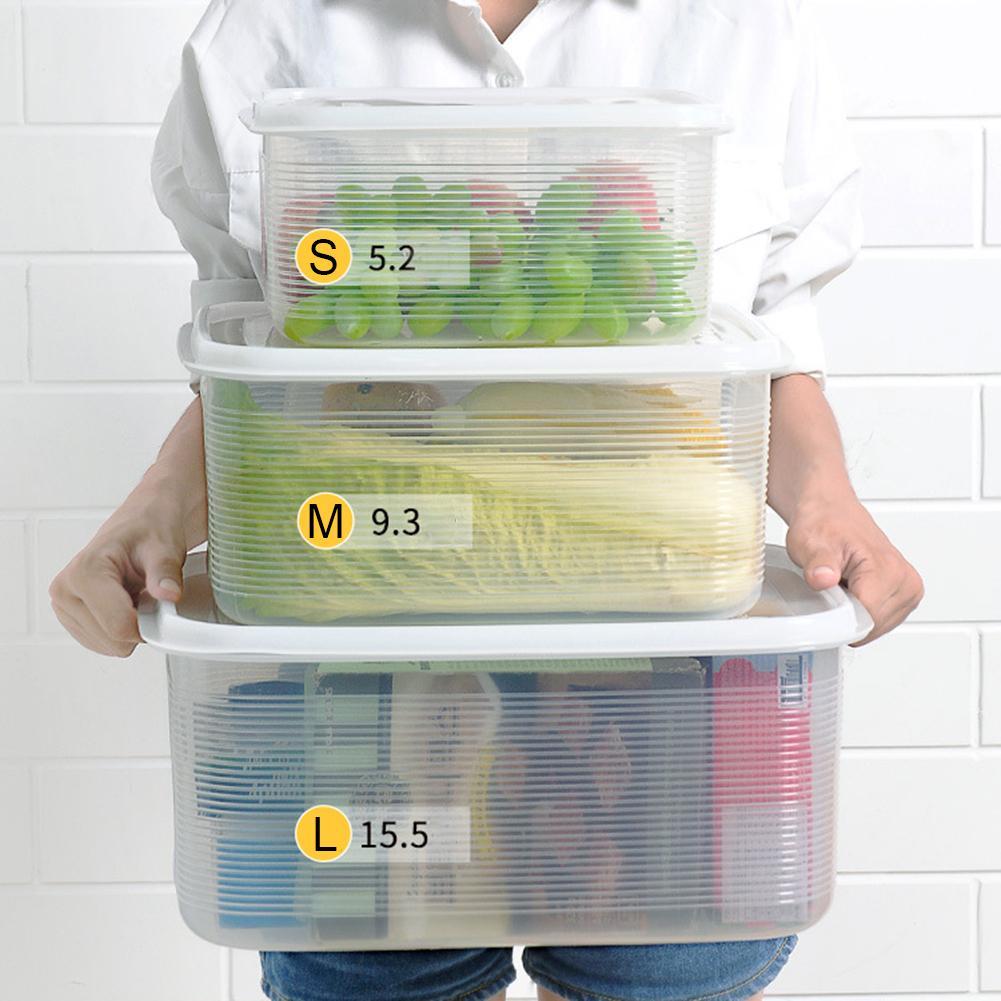 Gran capacidad organizador para refrigerador clasificación caja de almacenamiento de plástico frutas y verduras seco sellado guarda varios Gra
