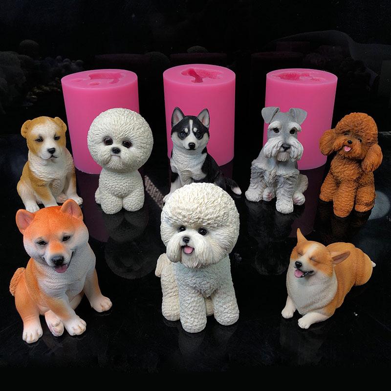 ثلاثية الأبعاد الحيوان الكلب الشوكولاته الخبز قالب من السيليكون الراعي الكلب bichon تيدي شيبا inu هاسكي schnauzer كلب قالب الجص