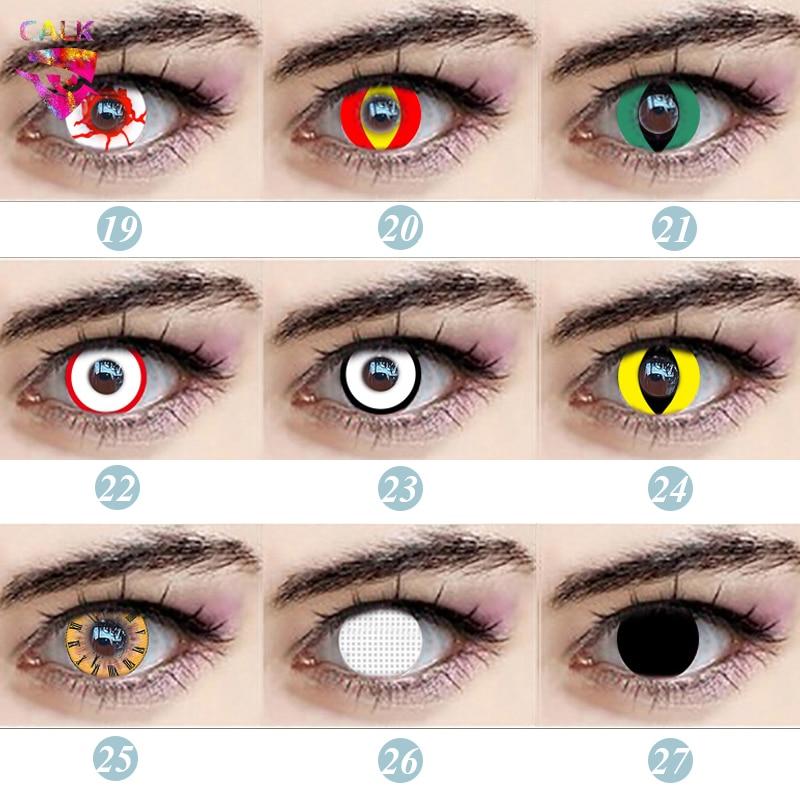 1 paire/2 pièces Cosplay lentilles de Contact couleur belle grande lentille délève pour les yeux Halloween beauté variété dessin animé fille cosmétique