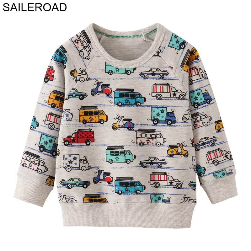 SAILEROAD Cartoon Car Print Boys Sudaderas para niños Ropa Otoño Niños Sudaderas con capucha Ropa 2019 Niños Niñas Traje de Navidad