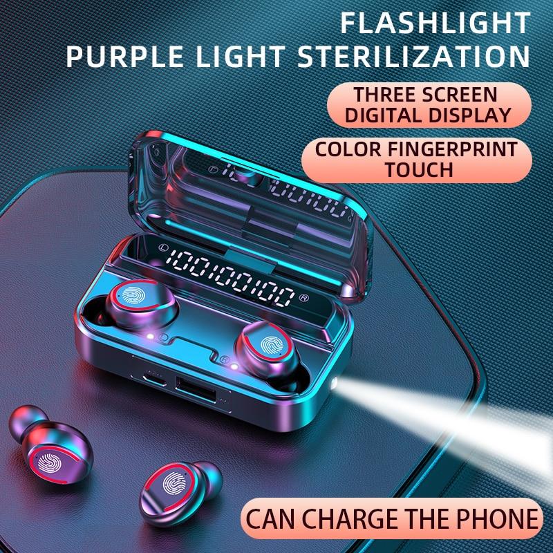 Bluetooth 5.1 Wireless Headphones with microphone Waterproof Sport TWS Earphones Touch Control Music