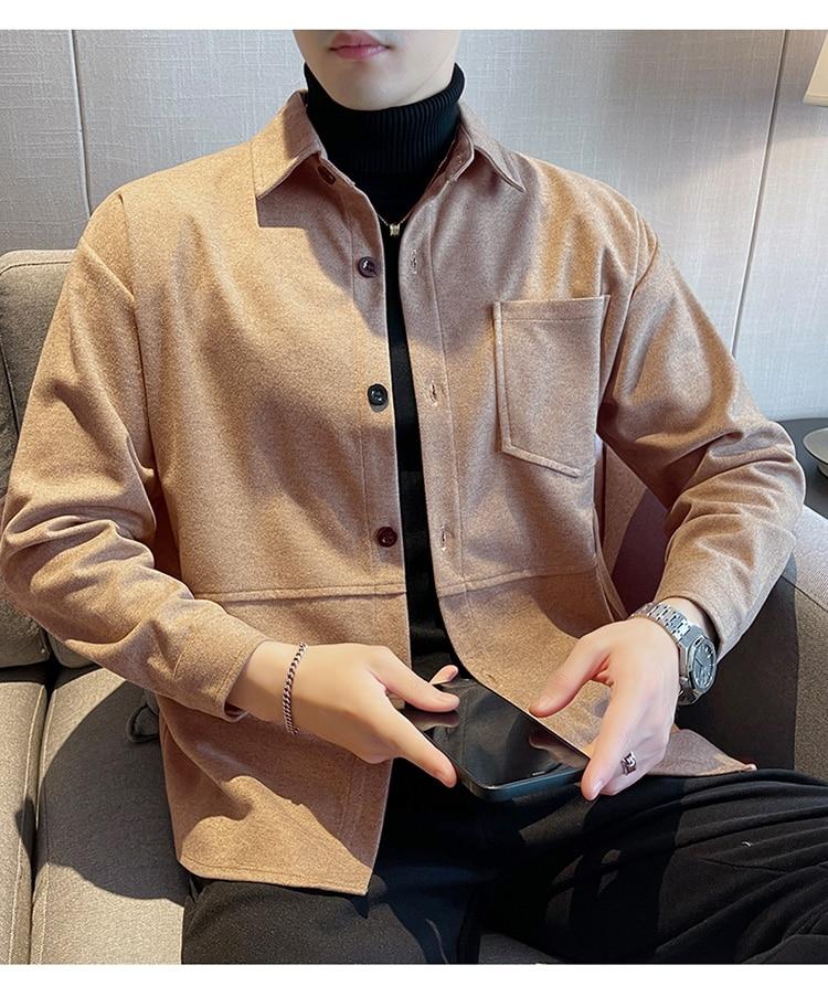 Мужская шерстяная рубашка с длинным рукавом, тонкие куртки, повседневные и красивые мужские куртки, плотные теплые куртки для осени и зимы