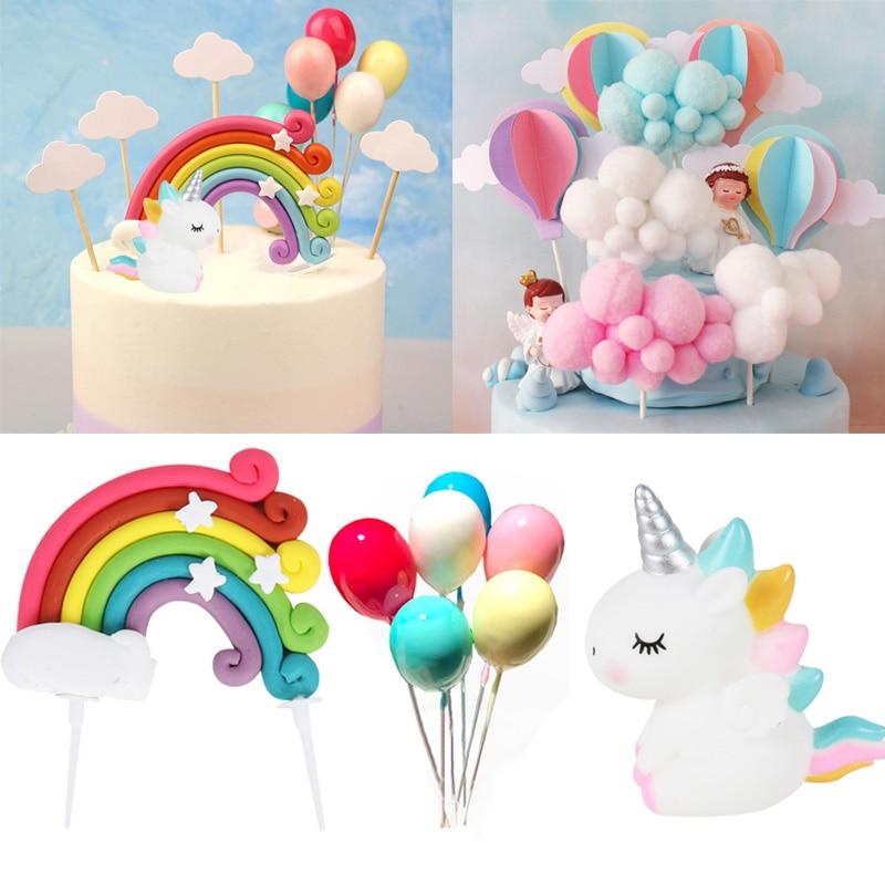 Unicórnio bolo topper arco-íris nuvem balão bolo bandeiras aniversário crianças favores bolo decoração festa cupcake topper bebê chuveiro menina deco