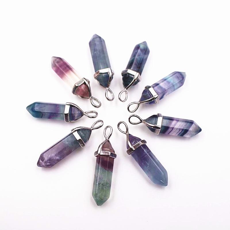 Hematita turquesas howlite fluorita collares colgantes de cristal de suspensión Natural piedra preciosa cuarzo bala Hexagonal péndulo