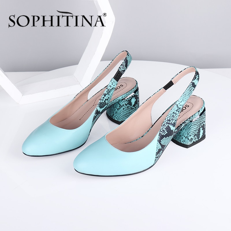 سوفيتينا حذاء نسائي عالي الجودة بكعب سميك مريح حذاء نسائي بمقدمة مدببة على شكل ثعبان أحذية خفيفة للنساء SC711