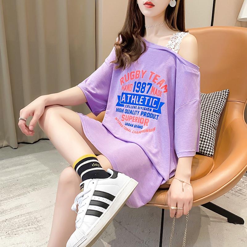 Mujeres sexy un hombro de encaje patchwork, camiseta de las mujeres 2021...