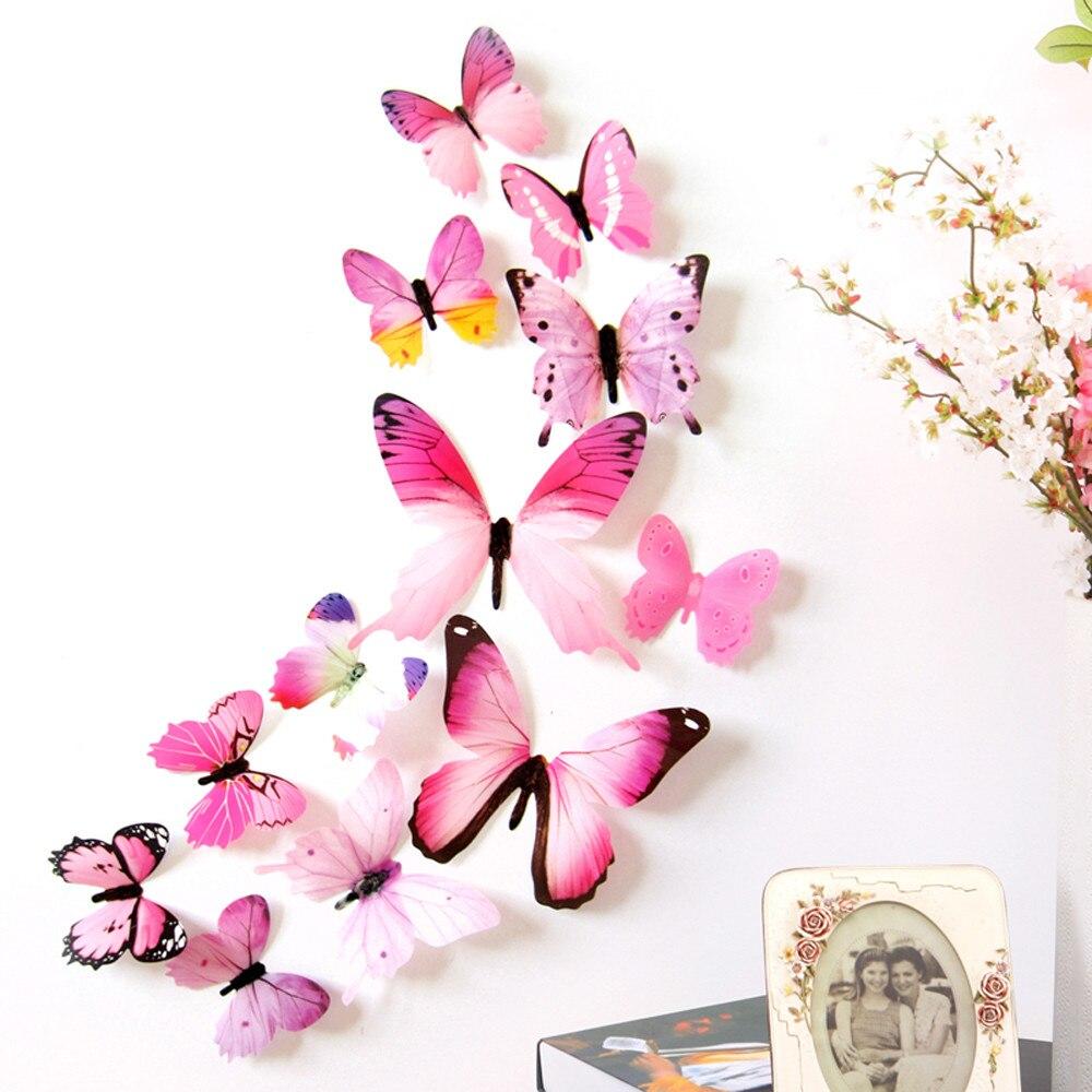Calcomanías de pared nuevas calificadas, pegatinas de pared de 12 Uds., calcomanías de decoración para el hogar, papel tapiz de PVC de mariposa 3D Arco Iris para sala de estar #30