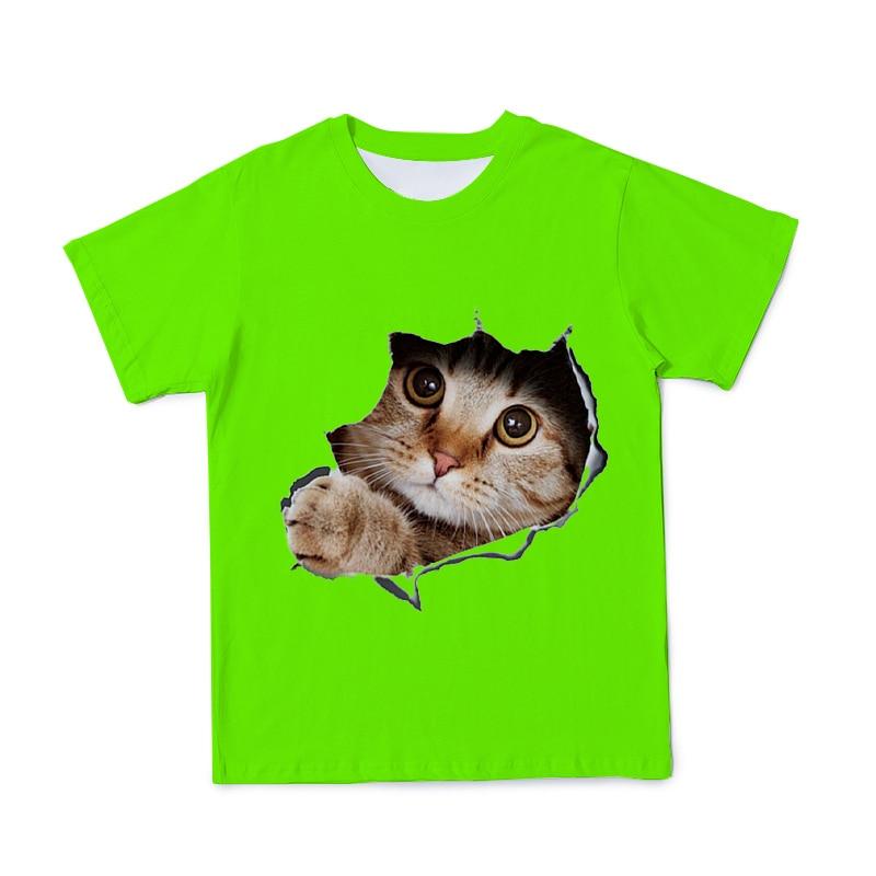 Купить с кэшбэком Funny Cat 3D Printing Children's Clothing T-shirt Boys/Girls O-Neck T Shirt Kids Fashion Print Clothes High Quality T-shirts