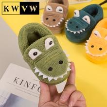 Kids Shoes Home Casual Cotton Slippers Cute Cartoon Boy Girl Warm Booties TPR Soft Bottom Non-slip C