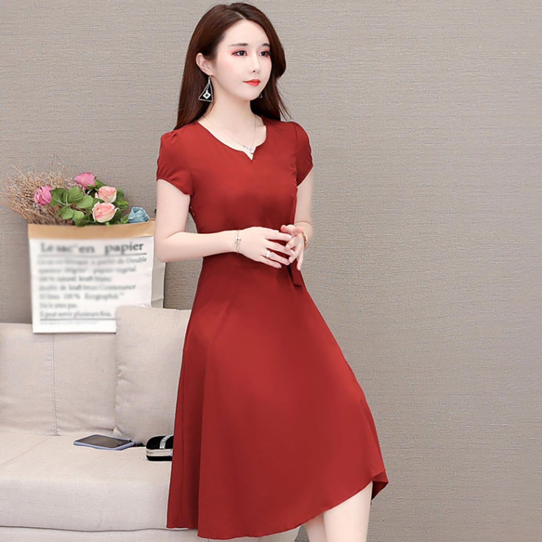 Women Short Sleeve Big Bawing Dress V Neck Summer Fashion Dress Vestidos Evening Party Dresses