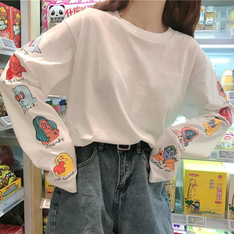 Camiseta coreana estampa de letras, solta, bonita, feminina, casual, manga longa, kawaii, tops