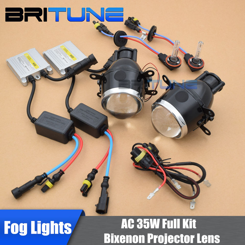 Kit de lentes PTF, luces antiniebla, Sintonización de proyector bi-xenón 2,5 /3,0, lentes universales H11 HID, lámparas de conducción, accesorios de luces de coche