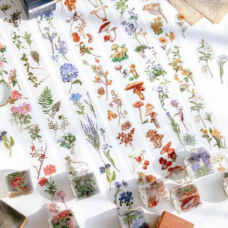Vintage flower leaves Creative PET Decoration Tape mushrooms Scrapbooking Tape Stationary School Supplies
