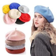2020 France Beret Hat Painter Flat Cap Women Vintage Wool Berets Hat Solid Color Bonnet Caps Casquet