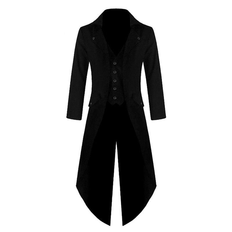 Abrigo de hombre de color sólido Steampunk Retro esmoquin nueva moda vestido...