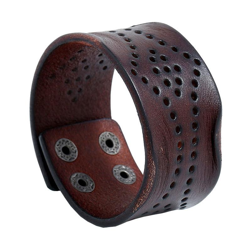 Fashion Men Genuine Leather Bracelet Wide Wrap Cuff Bangle Punk Wristband Jewelry Gift Men Women Pul