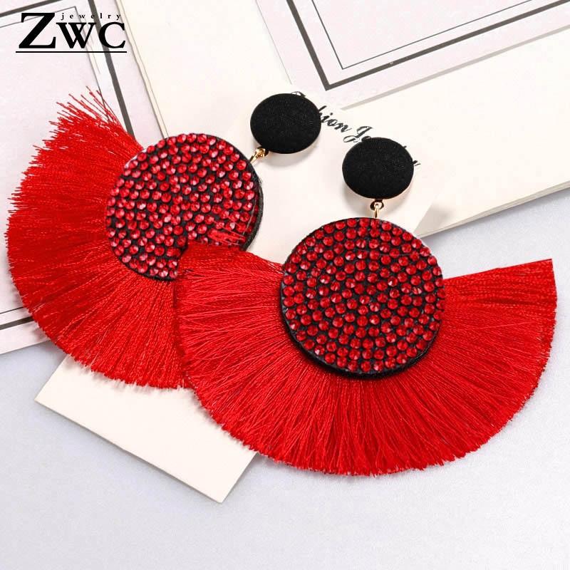 ZWC Mode Böhmischen Quaste Kristall Große Ohrringe Schwarz Weiß Rot Seide Stoff Tropfen Baumeln Aussage Ohrringe Für Frauen Schmuck