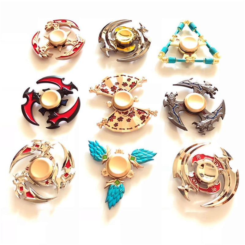 Colorful Zinc Alloy Fidget Spinner Smooth Sickle Fans Shuriken Hidden Weapon Alloy Hand Spinner Stress Relief Toy For Adult Kids enlarge