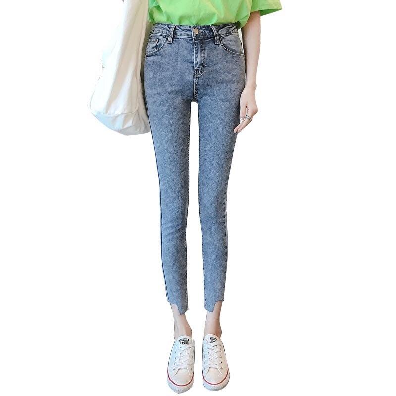 Nornov 2019 mujeres Vintage Skinny lápiz pantalones Vaqueros cintura alta Slim bolsillos cremallera Algodón elástico Lrregular tobillo Jeans