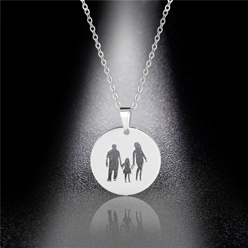 Family Love Mom Dad Child Necklaces Gifts Stainless Steel Pendants Boys Girls Mothers Fathers Neckla