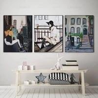 Paris mode fille toile peinture litteraire ville mur Art modulaire Hd affiches et impressions decoration de la maison Cuadros peinture decor