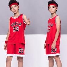 6 colors Kids Sport DSKLR 23 Basketball Jersey,polyester children's wear Basketball suit,child sport Vest shorts Black Red White