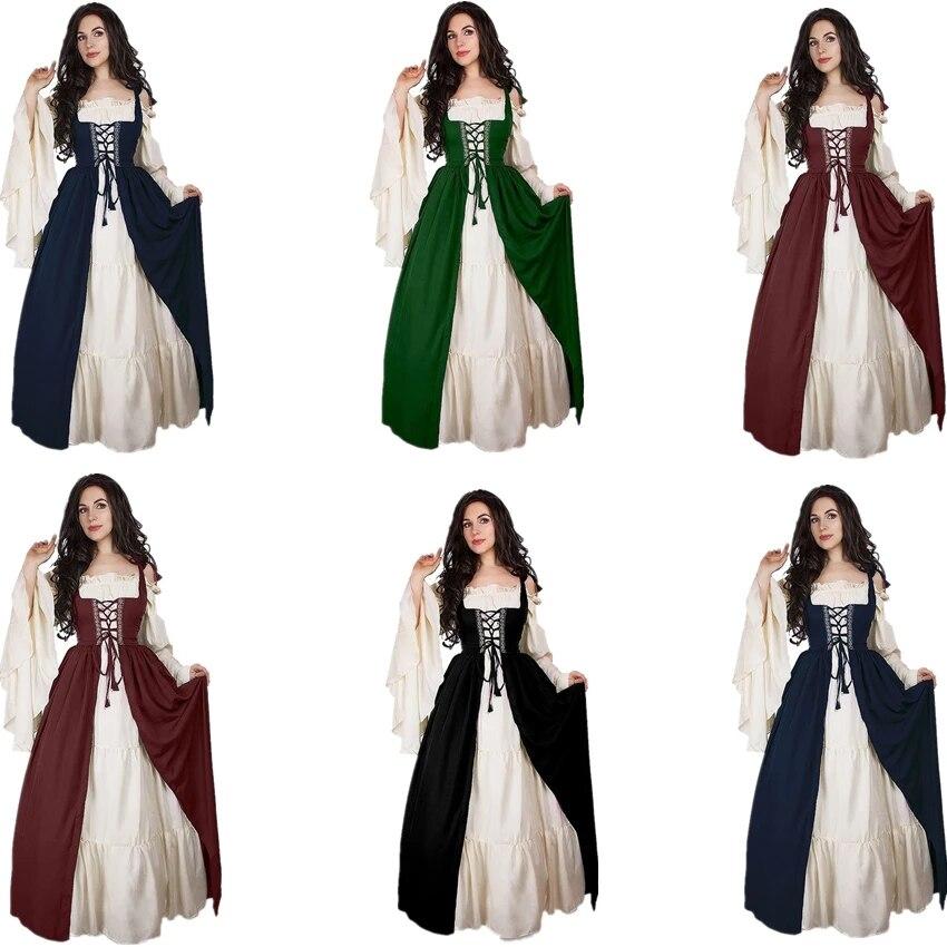 Vestido Medieval de S-6XL de disfraz de Halloween para mujeres de Vestido...