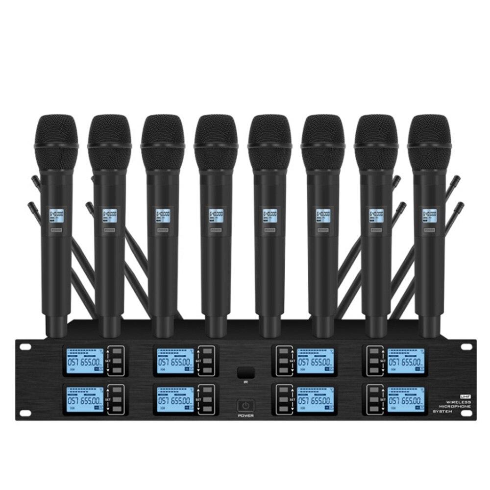 المهنية مكبر صوت لا سلكي ذو تردد فوق العالي 8 قناة يده ميكروفون lavalier ميكروفون مرحلة الأداء مكبر صوت للمؤتمرات