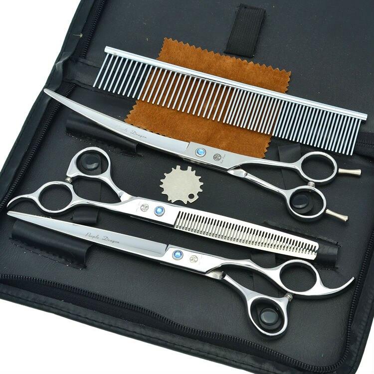 Tesouras do Cabelo Pet Definir Japão 440c Aço Professional Dog Grooming Cutting & Emagrecimento Tesouras Curvadas Lzs0378 8.0 3 Pçs – Set