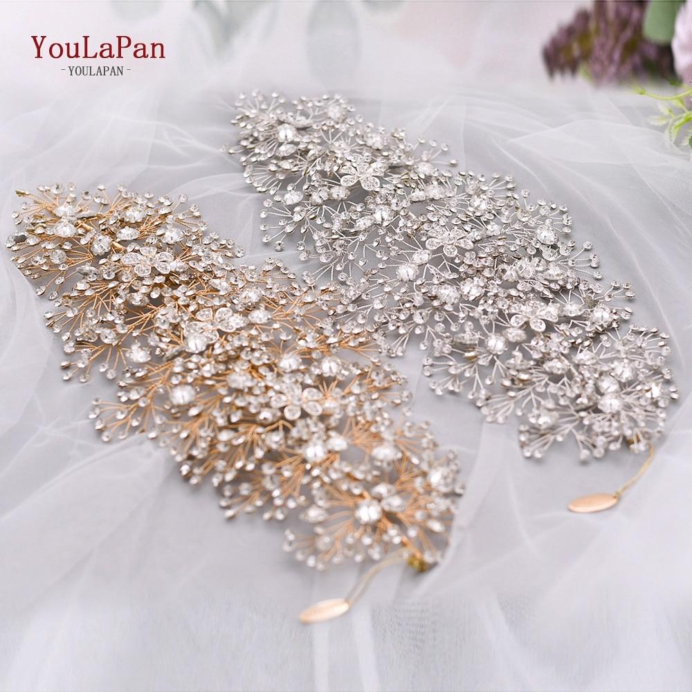 YouLaPan HP240 Golden Bride Hair Accessories Crystal Wedding Hair Jewelry Fascinator for Wedding Rhinestone Wedding Tiara