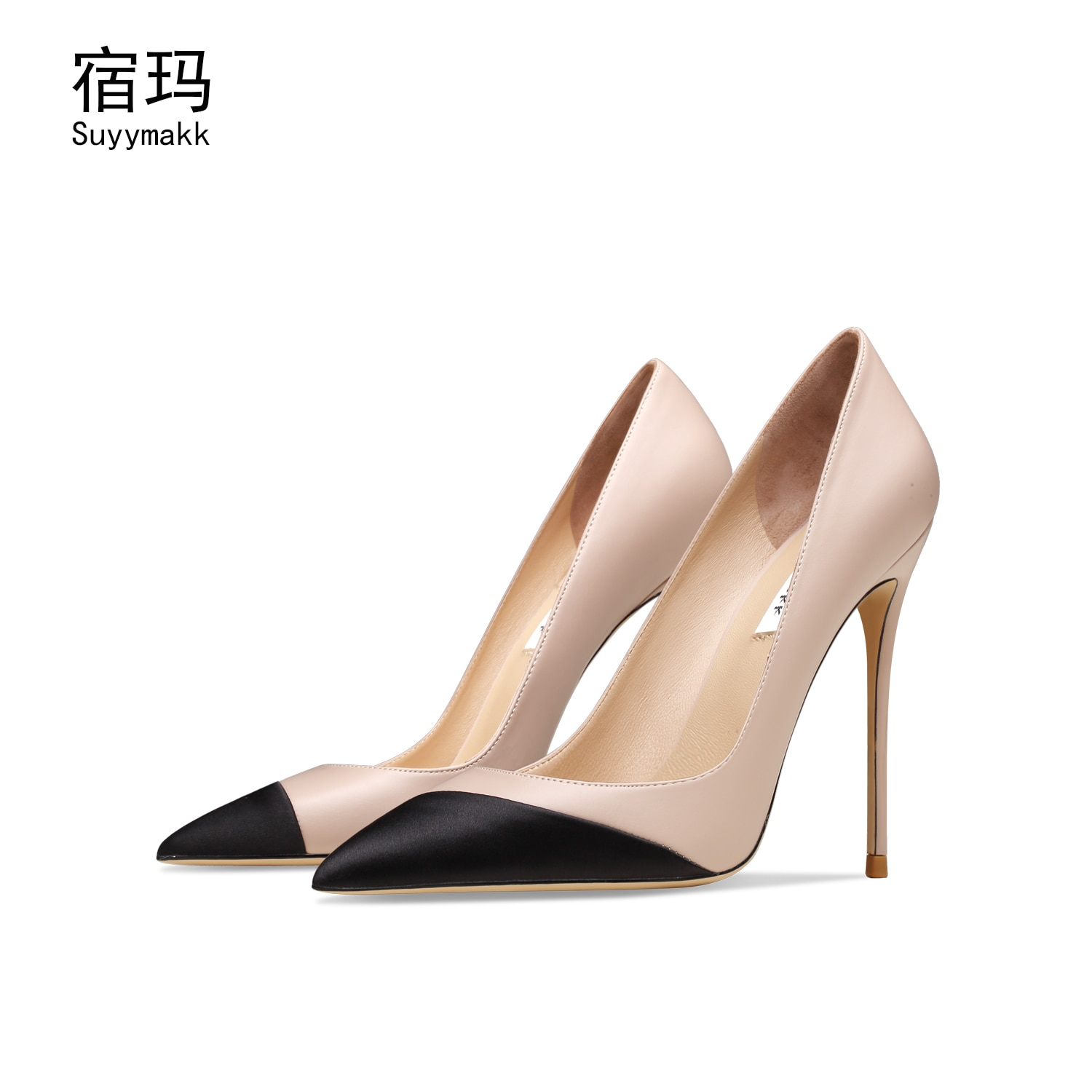Sheepskin 2021 New Women's High Heels Pointed Toe Sexy Wedding Pumps Thin Heels Shoes Lady Big Size 6/10cm Elegant Office Shoes onlymaker women s pointed toe block classic 12cm high heels slip on thick shoes wedding office dress big size chunky lady pumps