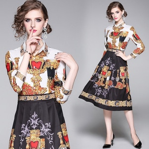 England Style Long Sleeve Casual Fashion Vestidos Tunic Office Party Runway Vintage Designer Printed Elegant Midi Shirt Dresses