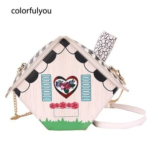 Interesting Design House Shoulder Bag for Women Crossbody Bag Fashion Girl's Purses and PU Leather Handbag Cartoon Chain Bag