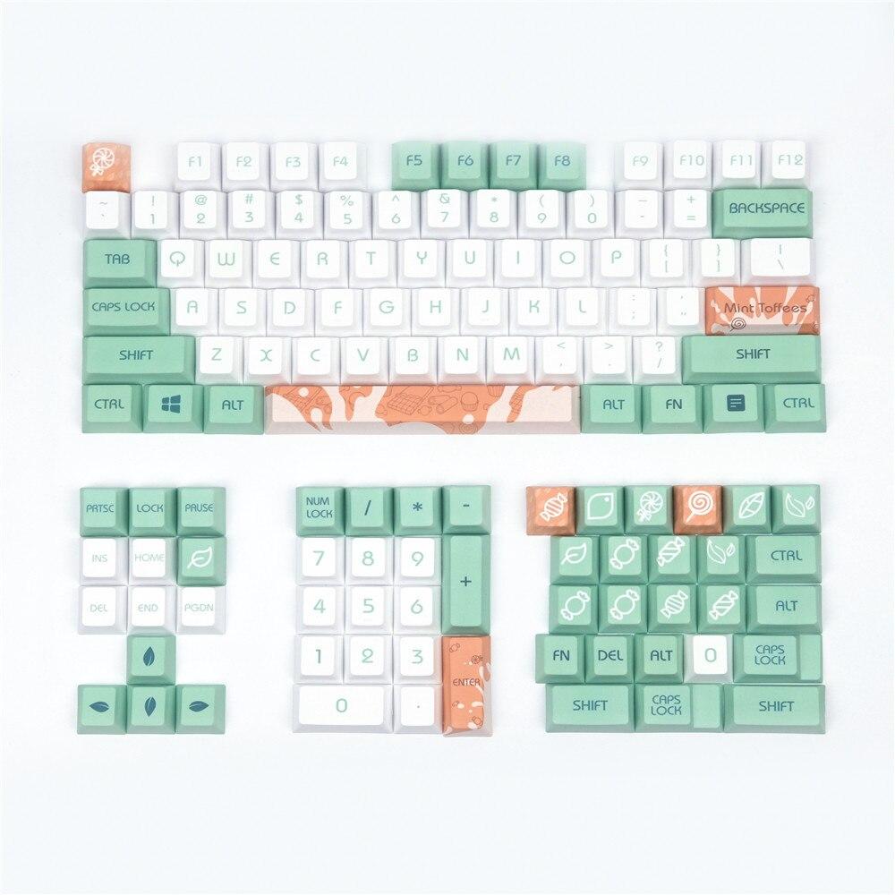 أغطية مفاتيح لوحة المفاتيح الميكانيكية ، لون النعناع ، الحليب الأصلي ، ملف تعريف الكرز ، 128 مفتاحًا ، متوافق مع مفاتيح Cherry MX Kailh Gateron