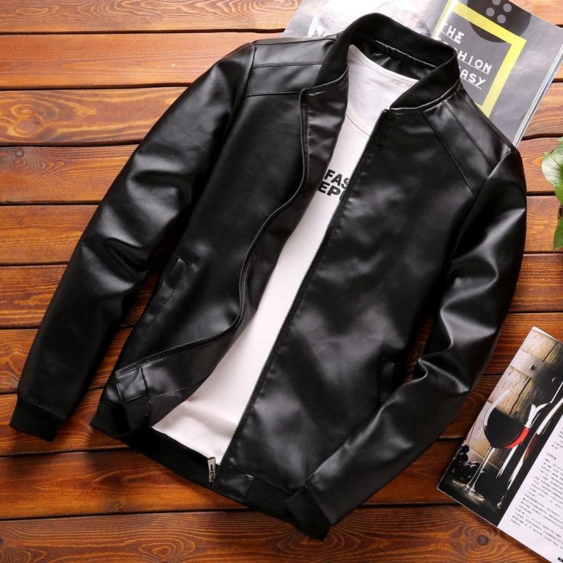 Мужские кожаные куртки бренд Thoshine, демисезонные Классические облегающие мужские пальто из искусственной кожи, мотоциклетная Байкерская ул...